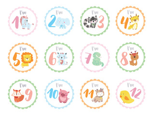 Cute birthday stickers with animals for babies
