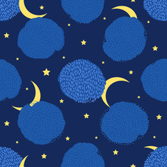 Night seamless pattern. Creative clouds, stars and moon.