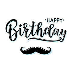 Vector illustration of a Happy Birthday Invitation with mustache