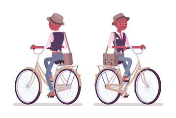 Black intelligent smart casual man wearing hat and glasses biking