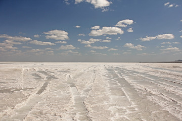 Salt Lake Baskunchak, Russia. Blue sky and white clouds on the lake