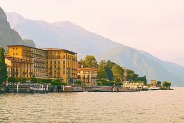 Beautiful view of Cadenabbia di Griante, a small town on the shore of the lake Como in Lombardy, Italy