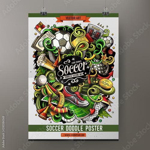 Cartoon vector hand drawn doodles Soccer poster template\