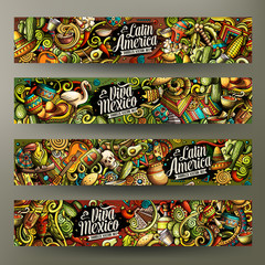 Cartoon vector doodles Latin America horizontal banners