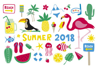 Summer 2018 Vector Collection Set on white background