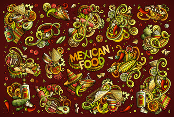 Vector set of Mexican food combinations of objects and elements