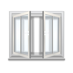 Open window, isolated object on white background.