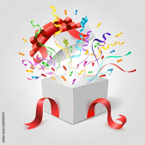 Surprise gift box. Empty open holiday present giftbox with red ribbons bow and confetti vector illustration  sc 1 st  Fotolia.com : exploding gift box confetti - princetonregatta.org