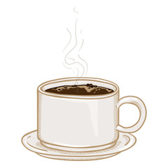 Vector Cartoon Illustration - Cup of Black Coffee