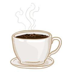 Vector Cartoon Cup of Black Coffee