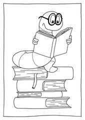Ausmalbild Bücherwurm