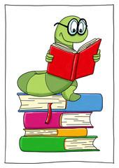 Ausmalbild Bücherwurm koloriert