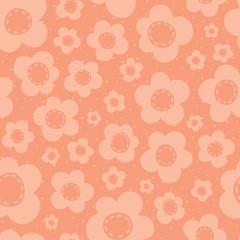 Vector Cute Peach Flowers Seamless Pattern