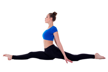side view of beautiful flexible woman doing stretching exercise isolated on white