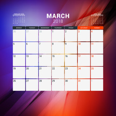 March 2018. Calendar planner design template with abstract background. Week starts on Monday