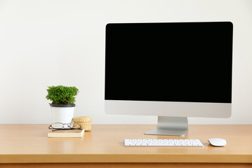 Computer, Desktop PC. for business blank screen white background