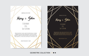 Wedding Invitation, invite card design with Geometrical art lines, gold foil border, frame.