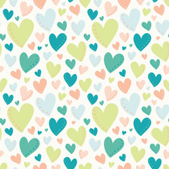 Vector Bright Hearts Green Peach Teal Seamless Pattern