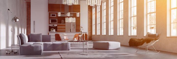 Sonniger Loft mit Wohnküche und Sofa