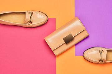 Fashion Design Woman Accessories Set. Pop Art Colors. Trendy Handbag Clutch. Flat lay. Glamor Shiny Shoes. Luxury Minimal Outfit