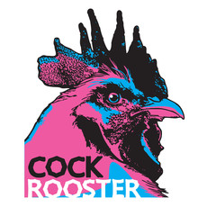 Rooster head illustration.  Vector image of bright poultry chicken as a design element for logo, icon, template, label.