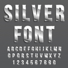Silver glossy vector font or gold alphabet. Silver typeface. Metallic 
