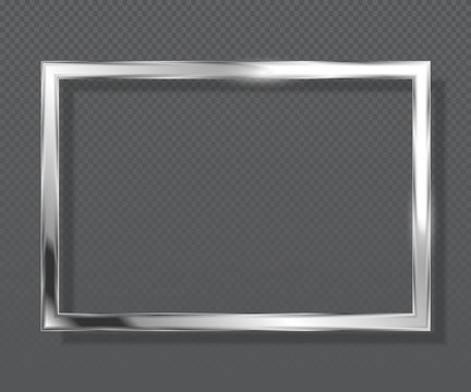 Abstract luxury metallic square frame on transparent background. Silver color frame.