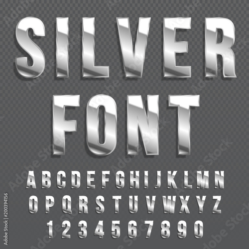 Silver glossy vector font or gold alphabet  Silver typeface