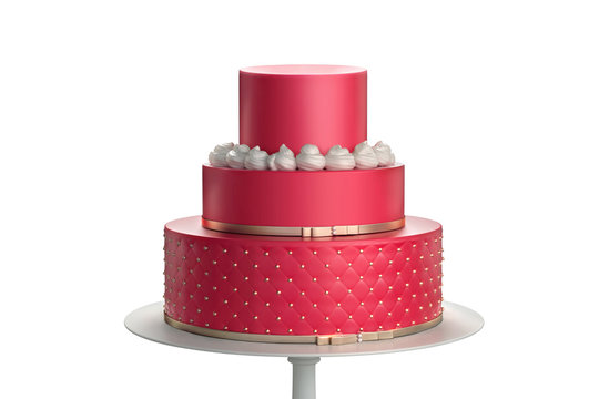 Delicious red three tiered wedding cake on a white plate isolated on white background. 3d illustration