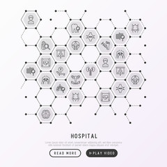 Hospital concept in honeycombs with thin line icons for doctor's notation: neurologist, gastroenterologist, manual therapy, ophtalmologist, cardiology, allergist, dermatologist. Vector illustration.