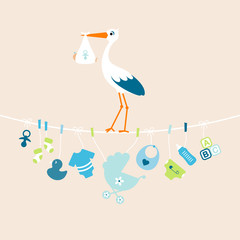 Stork Boy Baby Symbols Hanging