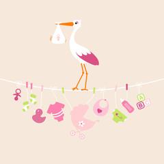Stork Girl Baby Symbols Hanging