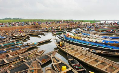 Lake village Ganvie on Lake Nokoué near Cotonou, Benin