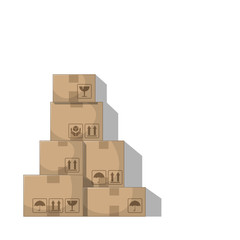 Stacked boxes. Isolated on white background. Vector Illustration