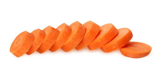 Carrot slices isolated on white background.