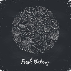 Circle shape composition from hand drawn bread in sketch style. Vector illustration for bakery shops on blackboard. Fresh bread poster concept.