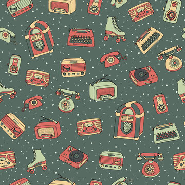Vector retro seamless pattern with antique tech, scooter, juke box, radio, typewriter, roller skates and vinyl record player on the dotted background. Hand drawn vintage objects from 1950s and 1960s.