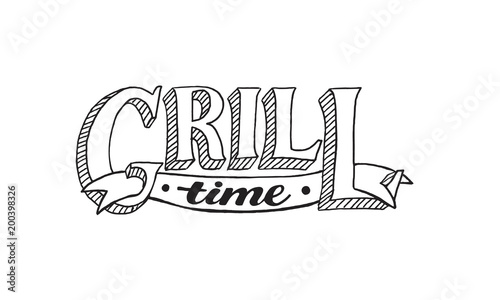 hand drawn lettering about bbq and grill isolated on white