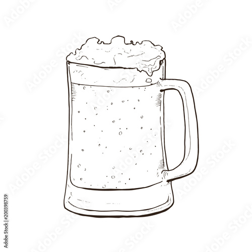 Hand Drawn Glass Mug Of Craft Beer With Foam Isolated On White
