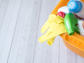 housework, housekeeping and household concept - cleaning stuff