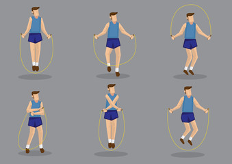 Rope Skipping Exercise Vector Character Set