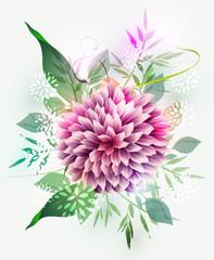 Vector wedding invitation with high detailed dahlias