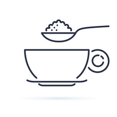 Sugar spoon icon line symbol. Isolated vector illustration of icon sign concept for your web site mobile app