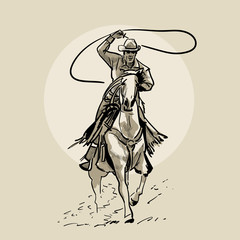 American cowboy riding horse and throwing lasso. Hand drawn illustration. Hand sketch. Illustration.