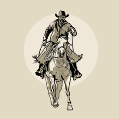 American cowboy riding horse. Hand drawn illustration. Hand sketch. Illustration.
