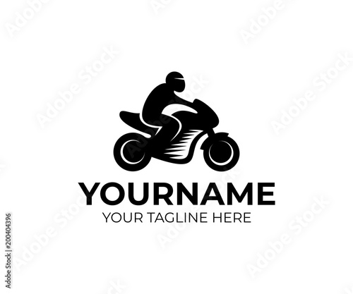motorcyclist on motorcycle motorbike logo template moto sport and