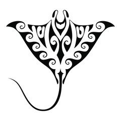 Symbol manta ray. Isolated sign on white background. Tattoo with polynesian style element