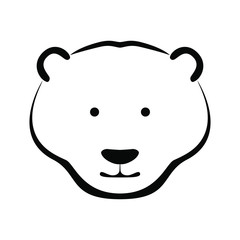Icon white bear head. Flat symbol white bear. Isolated sign on white background. Vector Illustration