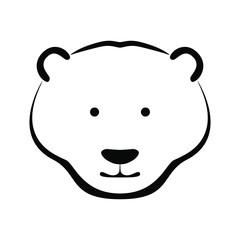 Icon white bear head. Flat symbol white bear. Isolated sign on white background. Vector Illustration