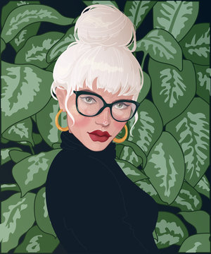 vector blonde girl with bunch on head from hair, wearing glasses, with red lipstick, standing against the background of foliage plants Philodendron